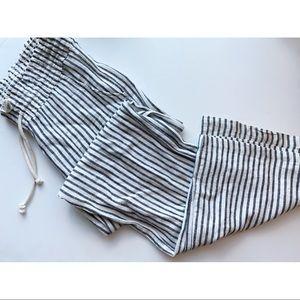 Ashley Freestyle • Cream Navy Striped Loose Pants